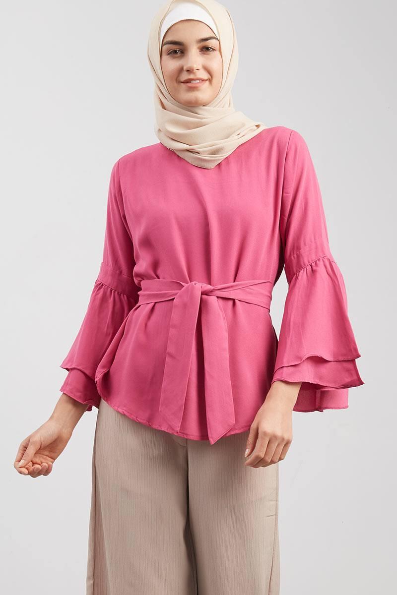 Bell Sleeved Blouse Pink Fanta