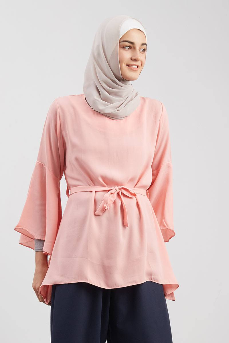 Flare Hands Blouse Peach