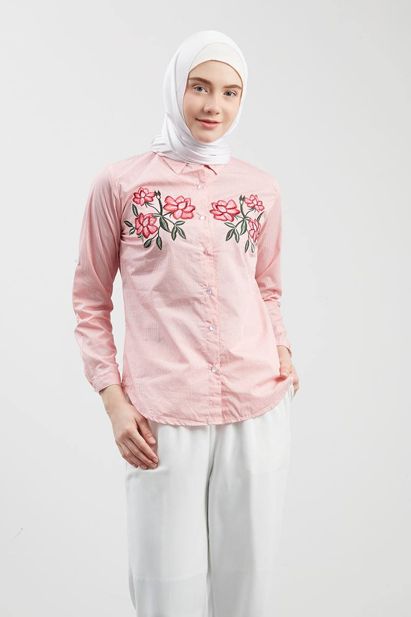 Novie Stripe Shirt Pink