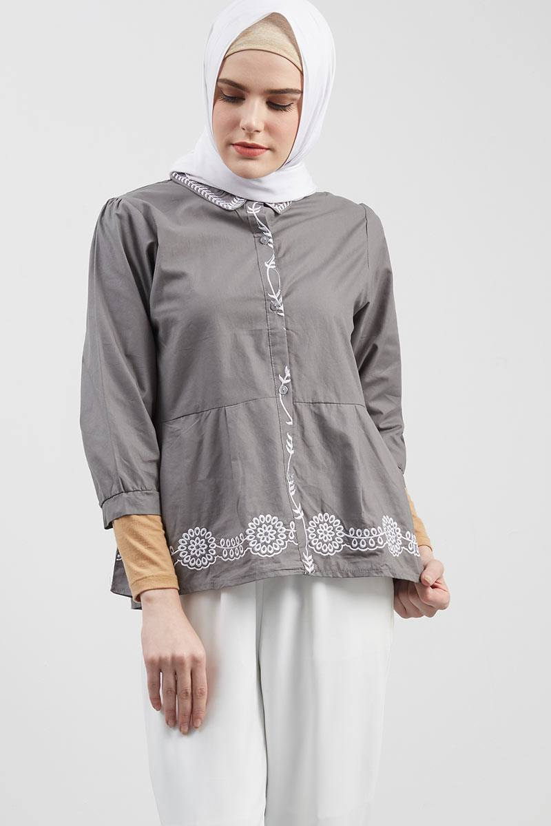 Carla Embroidery Top Grey