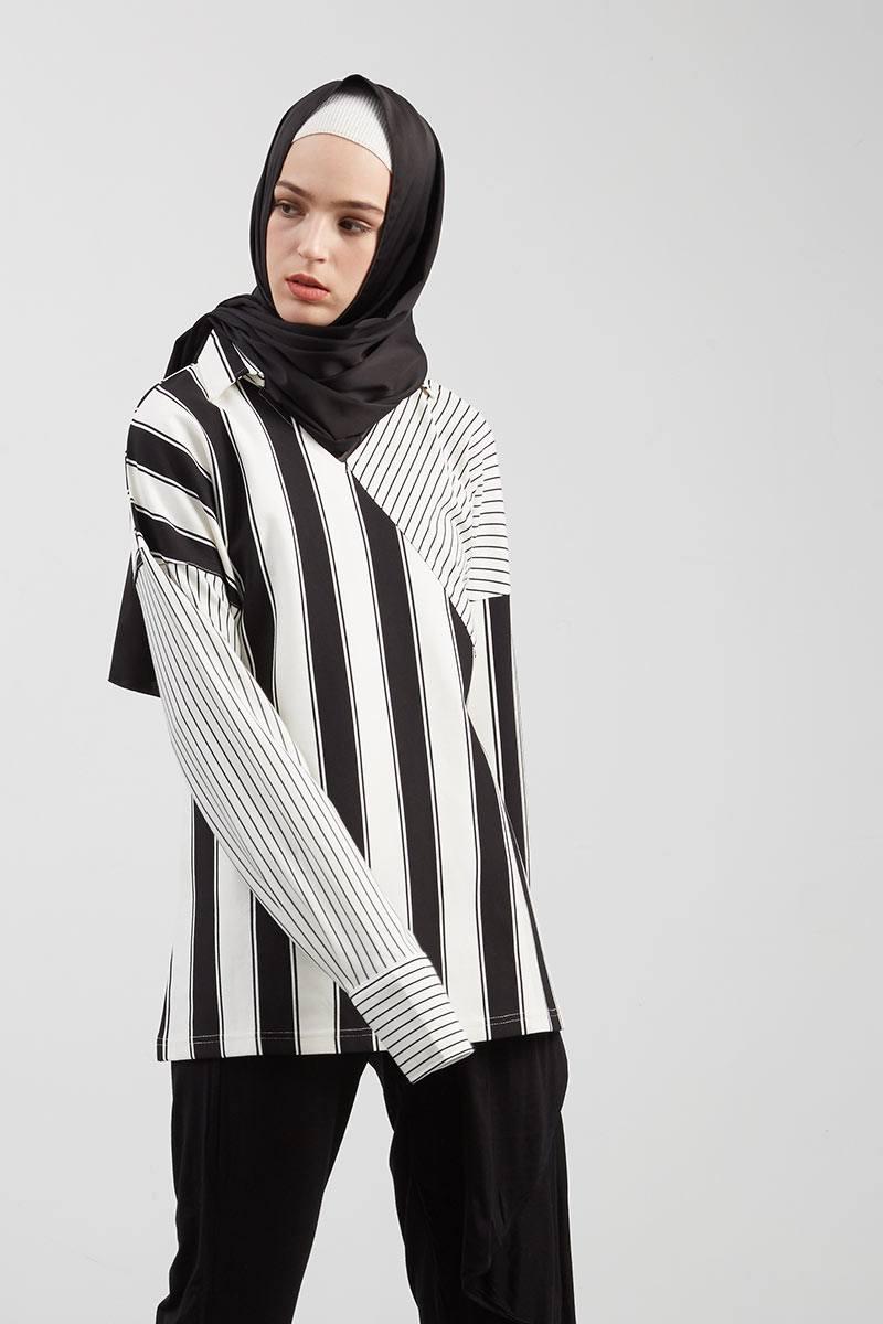 Elena Top Stripe Black